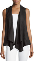 Neiman Marcus Linen Draped Open Vest, Black