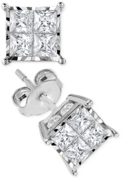 TruMiracle Diamond Quad Stud Earrings (1-1/2 ct. t.w.) in 14k White Gold