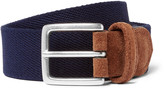 Andersons Anderson's 3.5cm Blue Suede-Trimmed Canvas Belt