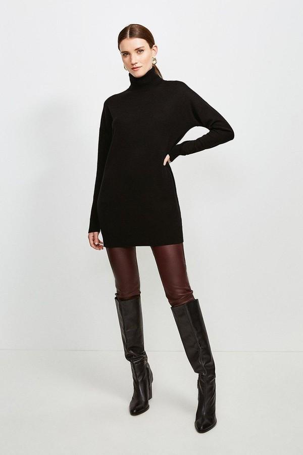 Karen Millen Merino Wool Roll Neck Longline Jumper