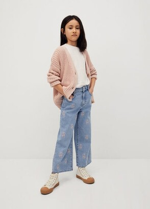 MANGO Embroidered culotte jeans