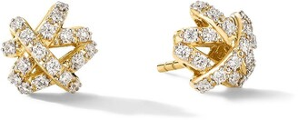 David Yurman 18kt yellow gold diamond Full Pave Crossover stud earrings
