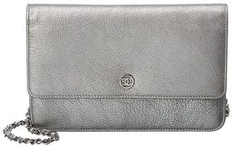 Chanel Silver Lambskin Leather Wallet On Chain