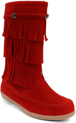 Jelly Beans Girls' Casual boots RED - Red Fringe-Accent Hobo Boot - Girls