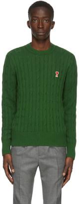 Ami Alexandre Mattiussi Green Cable Ami De Coeur Sweater