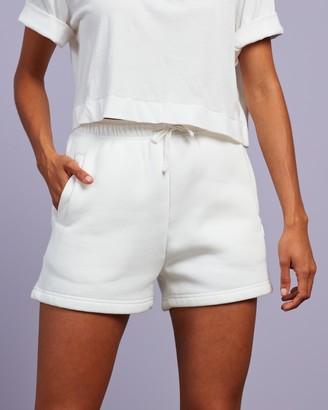Cools Club - Women's White Shorts - Badge Fleece Shorts - Size 6 at The Iconic