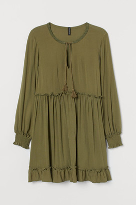 H&M H&M+ Tie-belt Dress - Green