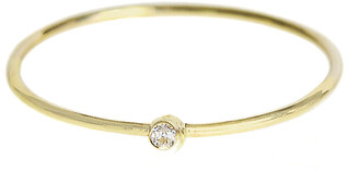 Jennifer Meyer Thin Diamond Yellow Gold Stacking Ring