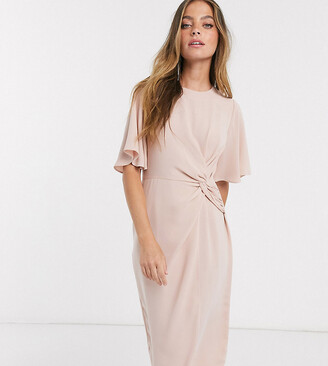 Asos DESIGN Petite twist front midi dress with angel sleeve in soft pink