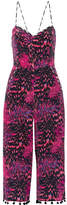 Matthew Williamson Pompom-trimmed Printed Silk Crepe De Chine Jumpsuit - Magenta