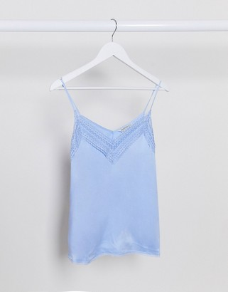 Stradivarius camisole top with lace in blue