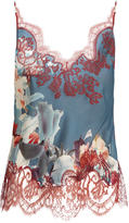 Carine Gilson Wonderland-print lace appliqué silk-satin cami top