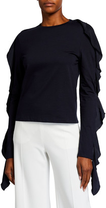 J.W.Anderson Frilled Long-Sleeve Solid Top