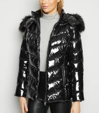 New Look Cameo Rose Patent Faux Fur Hood Puffer Jacket