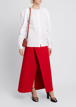 Givenchy Cotton Twisted-Sleeve Blouse