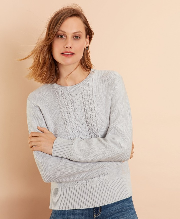 be3ef64fbf2 Wool-Cotton Cable-Knit Sweater