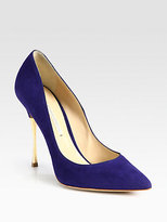 Suede & Metal Heel Pumps