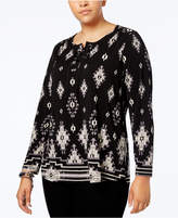 Style&Co. Style & Co Plus Size Mixed-Print Lace-Up Top, Created for Macy's