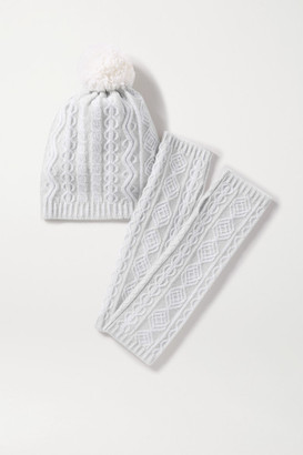 Johnstons of Elgin Cathedral Cable-knit Cashmere Beanie And Wrist Warmers Set - Light gray