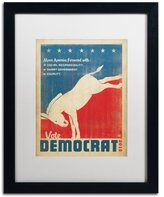 Trademark Fine Art Donkey Canvas Artwork by Anderson Design Group, 16 by 20-Inch, White Matte with Black Frame