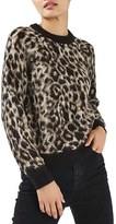 Topshop Women's Fuzzy Leopard Sweater