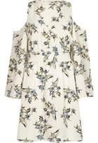 River Island Womens Cream floral cold shoulder dress