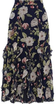 Alice + Olivia Uma Ruffled Floral-print Silk-chiffon Midi Skirt