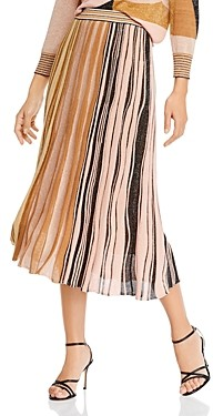 Marella Donare Striped Metallic Midi Skirt
