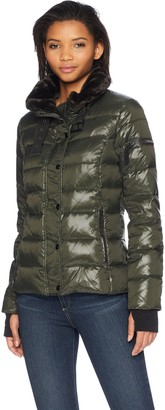 S13 Women's Mercer Hip Length Down Puffer with Faux Fur Trim