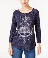 Style&Co. Style & Co Watercolor Graphic-Print Top, Only at Macy's