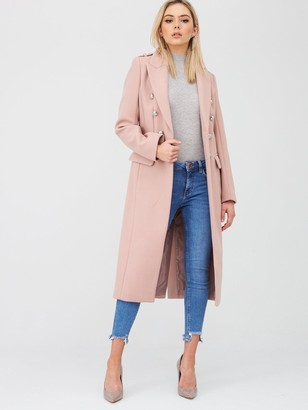 River Island Double Breasted Military Coat - Light Pink