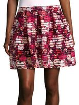 Saks Fifth Avenue RED Pleated Printed Skirt