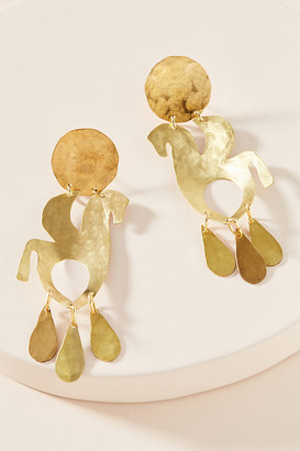 We Dream In Colour Hammered Drop Earrings By We Dream in Colour in Gold