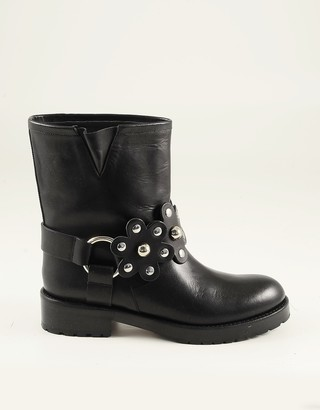 RED Valentino Black Leather Flower Puzzle Ankle Boots