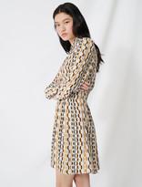 Maje Printed smocked crepe dress