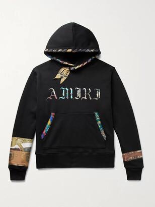 Amiri Scarf-Trimmed Logo-Print Loopback Cotton-Jersey Hoodie