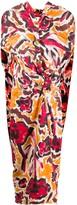 Marni floral paint print tie waist dress