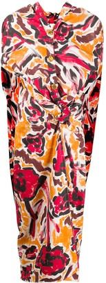 Marni Floral Paint Print Tie Waist Dress