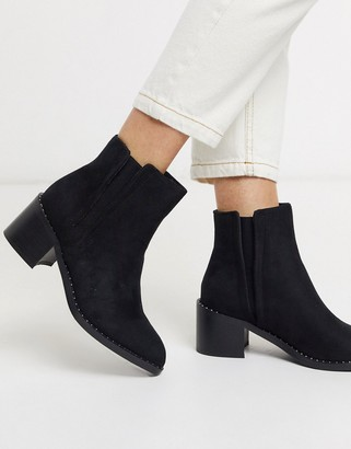 Call it SPRING crareweth heeled ankle boots with studded rand in black