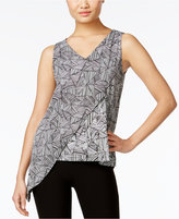 Cable & Gauge Asymmetrical Chiffon-Overlay Top