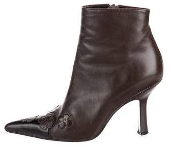 Chanel Leather Pointed-Toe Ankle Boots