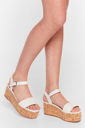 Nasty Gal Womens Step This Way Faux Leather Platform Sandals - White