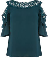 Oasis Lace Trim Frill Sleeve Top