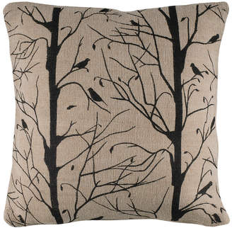"""Rizzy Home 18"""" x 18"""" Sticks, Twigs and Bird Poly Filled Pillow"""