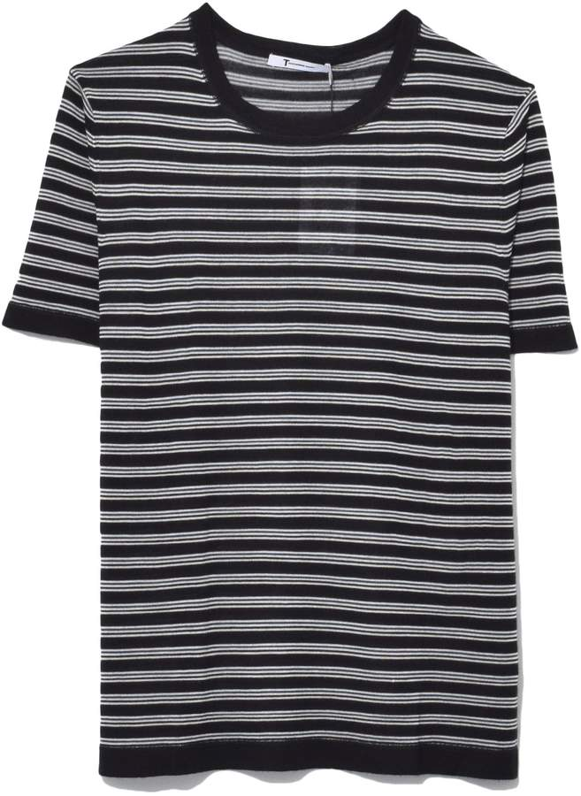 Alexander Wang Wash and Go Stripe Short Sleeve Tee in Black/Indigo/White