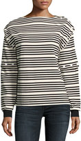 Opening Ceremony Striped Button-Off High-Neck Long-Sleeve Top