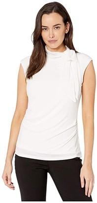 Calvin Klein Sleeveless Top with Chiffon Tie (Soft White) Women's T Shirt