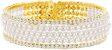 Bliss Cubic Zirconia & Faux Pearl Multi-Strand Hinge Bangle