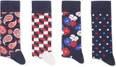 Happy Socks Red White Blue Pack Of Four Limited Edition Pattern