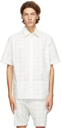 Fendi White Punched Check Short Sleeve Shirt